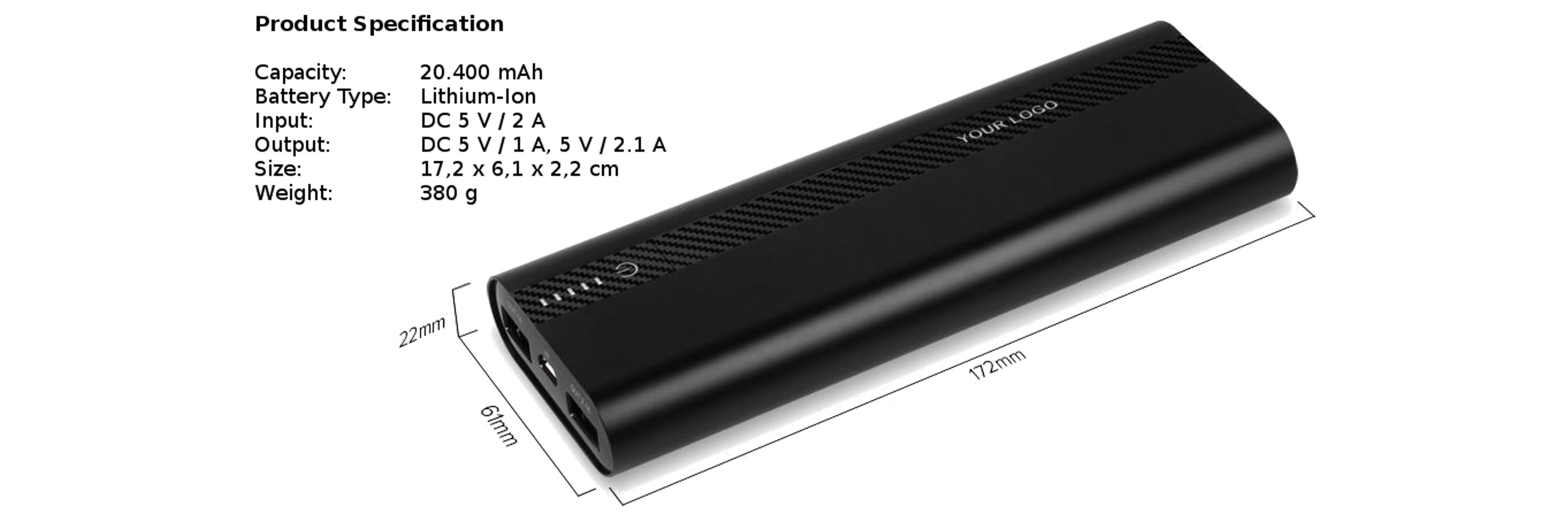 Powerbank Powerseed Tank Plus 20.400 mAh